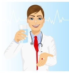 Doctor offering a pill with glass of water vector