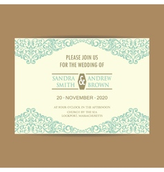Wedding invitation blue floral elem vector