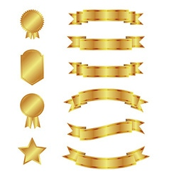Gold ribbons and badges vector
