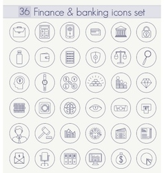 Finance and banking outline icon set thin vector