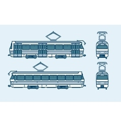 Dark blue tram front side back view line style vector