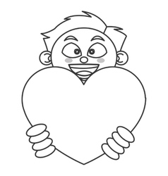Young boy holding cartoon heart icon vector