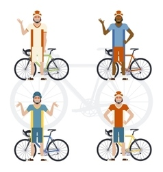 Set of cyclists vector