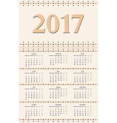 2017 year calendar template vector