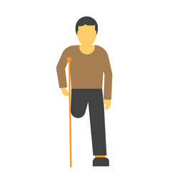 Amputee faceless person on crutches vector