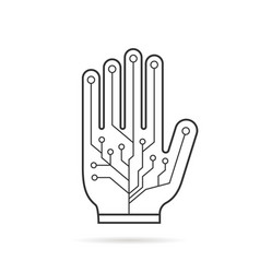 Black thin line pcb virtual glove vector