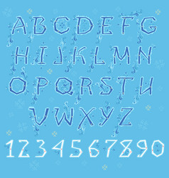 blue winter alphabet vector image vector image