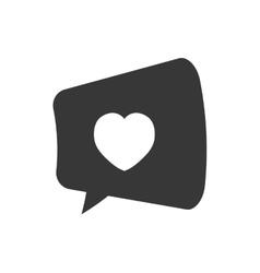 Bubble speech heart love chatting pictogram vector