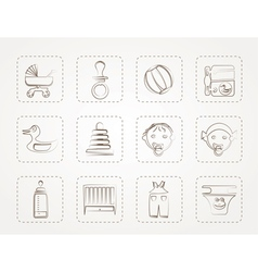 Child Baby and Baby Online Shop Icons vector image vector image