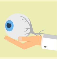 doctor hand holding human eye healthcare vector image vector image
