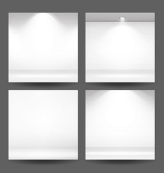 empty white photo studio interior background set vector image vector image