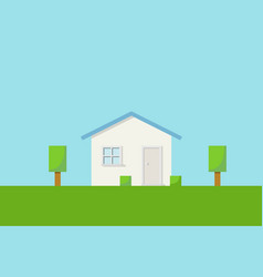 front view of a house on the grass with garden vector image