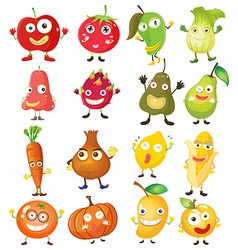 Fruit and vegetables with face vector image vector image