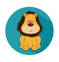 Funny lion circus icon vector