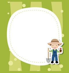 greeting card with cute farmer boy greeting card vector image