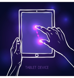 Hand hold tablet vector image vector image