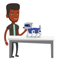 Happy young man playing with robotic dog vector