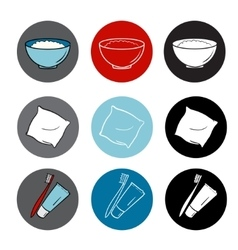 icons set round elements red blue color flat vector image