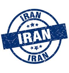 Iran blue round grunge stamp vector