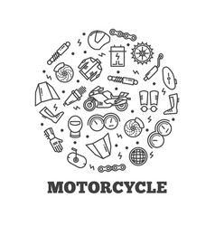 Line icons moto parts motorcycle vector