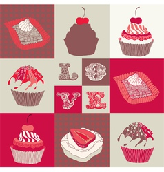 Love cupcakes vector image