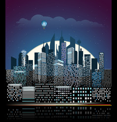 modern cityscape in the night city buildings vector image