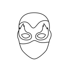 Monochrome contour of faceless female superhero vector