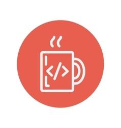 Mug with hot coffee thin line icon vector