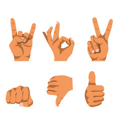 Nonverbal communication by hand gesturing set on vector