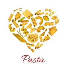 Pasta in shape of heart symbol vector