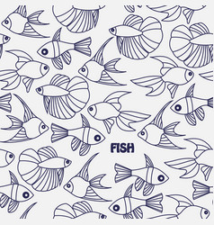seamless pattern with line fishes vector image vector image