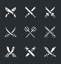 Set of crossed arms icons vector