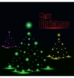 Shiny Christmas tree in black poster vector image vector image