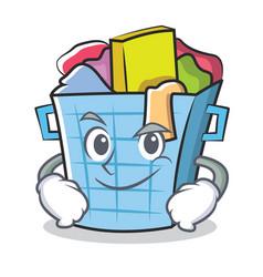 Smirking laundry basket character cartoon vector
