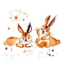 Two brown rabbit painted coffee vector
