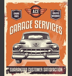 Vintage sign - advertising poster - classic car vector