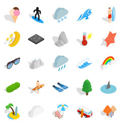 Water hangout icons set isometric style vector