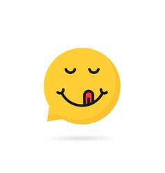 Yummy emoji speech bubble logo vector