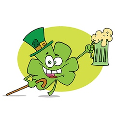 Partying clover character in a green hat vector