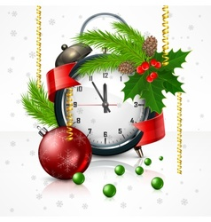 New Year clock on white vector image