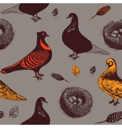Pigeons and nests seamless pattern vector