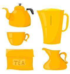 Set items for tea vector