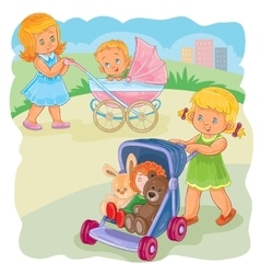 Two girls ride buggies vector
