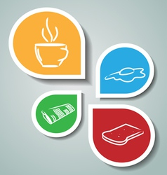 Stickers with morning symbols vector