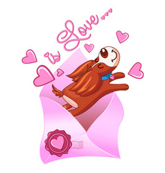 Valentines day dogs with envelope vector