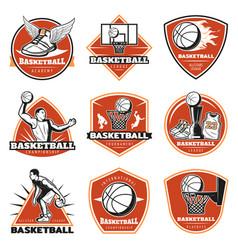Colored vintage basketball labels set vector