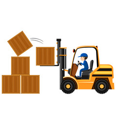 Man lifting wooden boxes with forklift vector