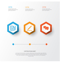 Trade icons set collection of contract pen vector
