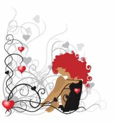 girl Valentine's frame vector image