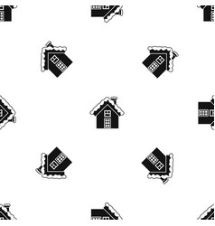 small snowy cottage pattern seamless black vector image